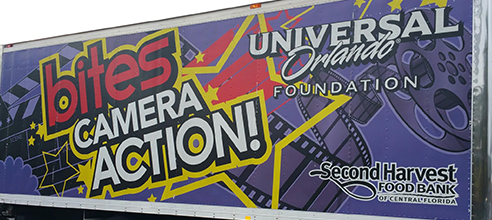 Bites Camera Action food delivery truck from Second Harvest Food Bank and the Universal Orlando Foundation