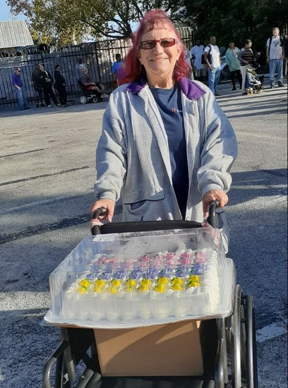 Resident in Line for Food Drive Donations