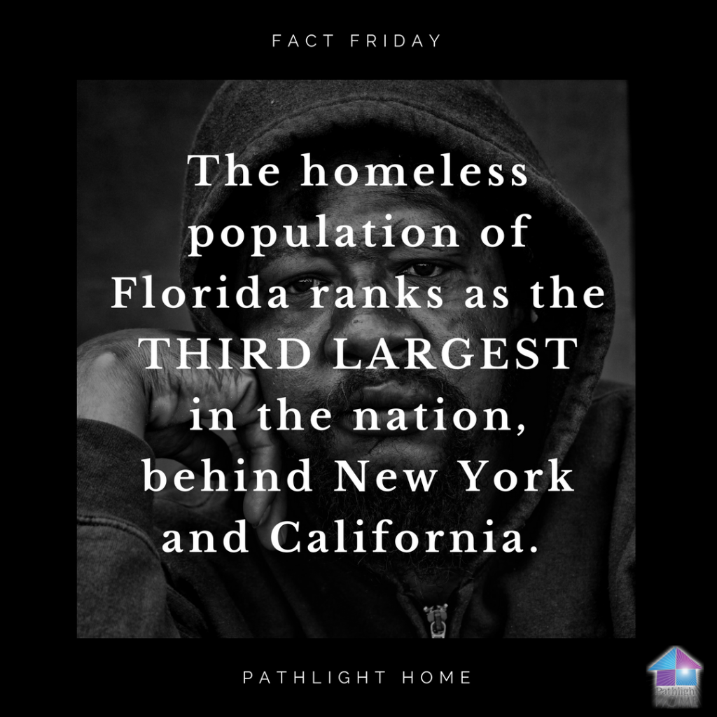 The homeless population of Florida ranks as the third largest in the nation, behind New York and California