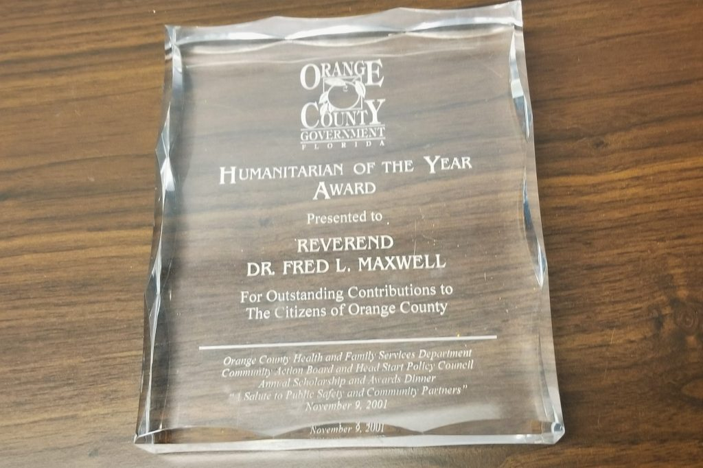 2001 Orange County Government Humanitarian of the Year Award presented to Rev. Dr. Fred L. Maxwell for Outstanding Contributions to the Citizens of Orange County