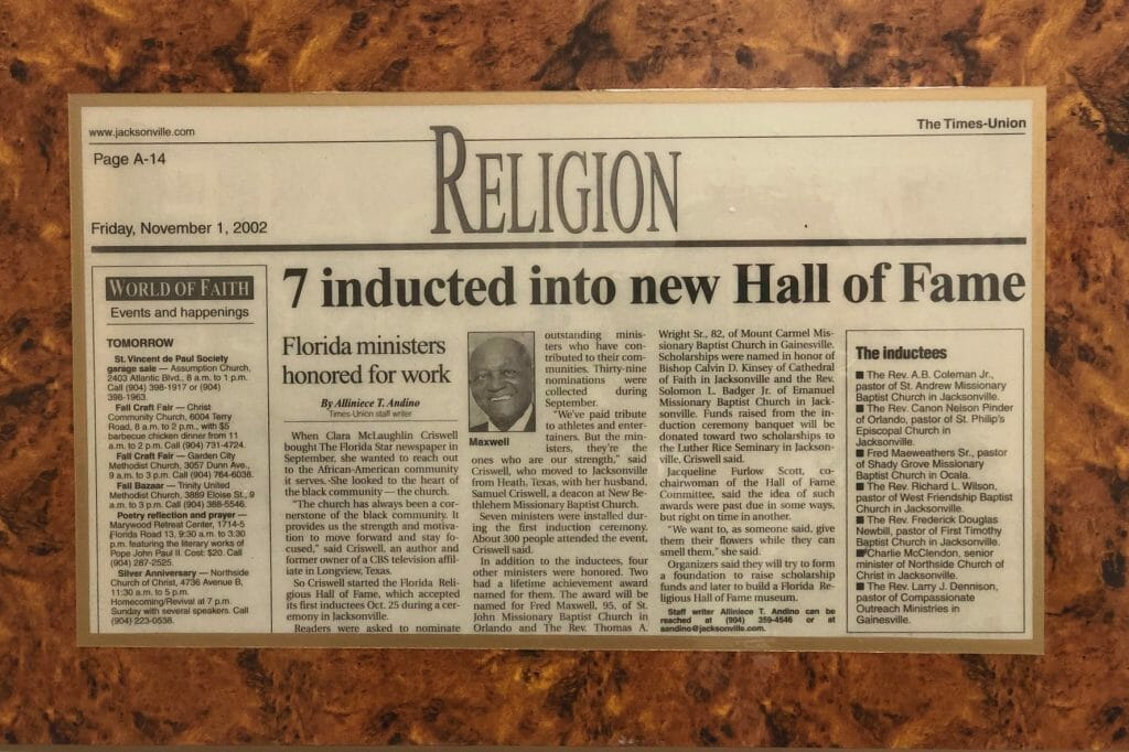 Jacksonville Times-Union Article Plaque Announcing Rev. Fred L. Maxwell Inducted into Florida Religious Hall of Fame in 2002