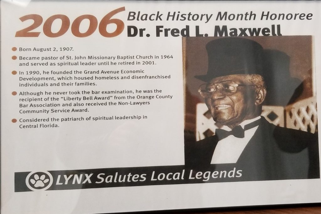 2006 Black History Month Honoree Dr. Fred L. Maxwell - Lynx Salutes Local Legends Plaque