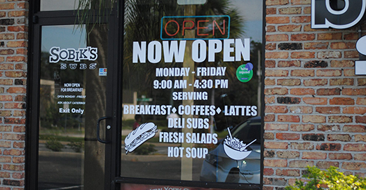 Exterior of Sobik's Subs Cafe at Maxwell Garden on Orange Blossom Trail