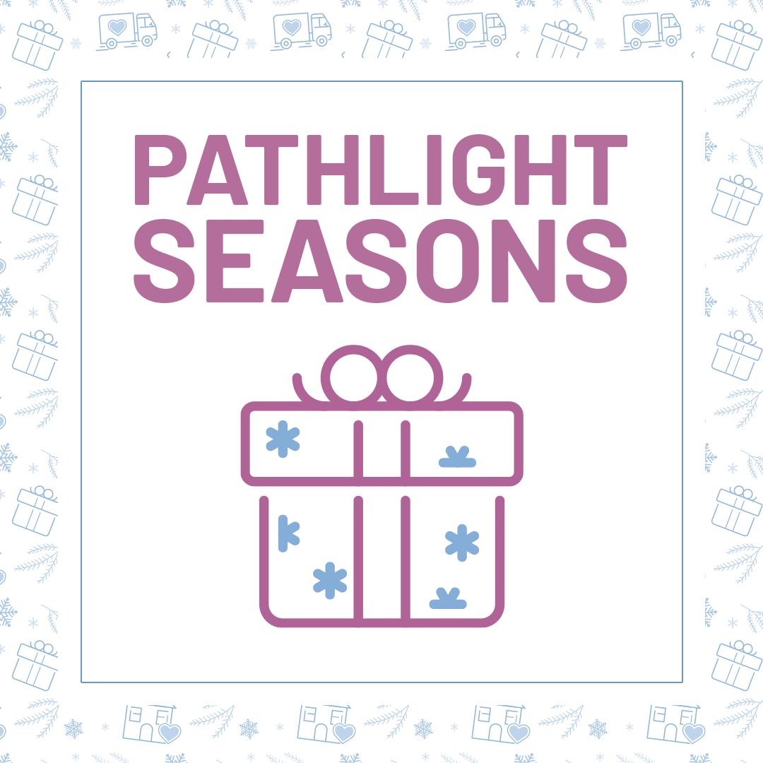 A Christmas present with snowflakes saying Pathlight Seasons